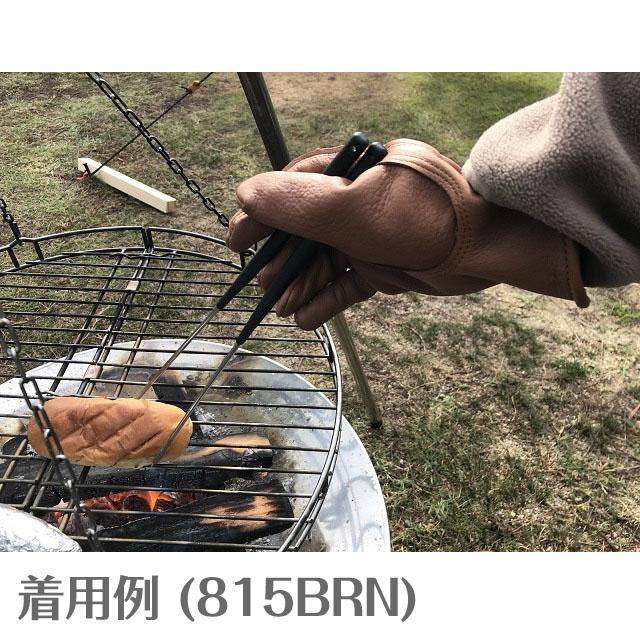 ゆうパケット送料無料!【NAPA×HEAVY】鹿革グローブ オールシーズン用 プレーン・ブラウン 815BRN