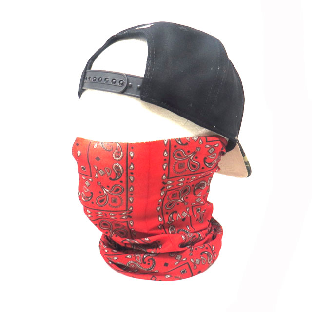【ゆうパケット送料無料】バフマスク ストレッチ素材チューブマスク『レッドペイズリー』 フェイスマスク バイク・アウトドア・ジョギング・日焼け・花粉対策