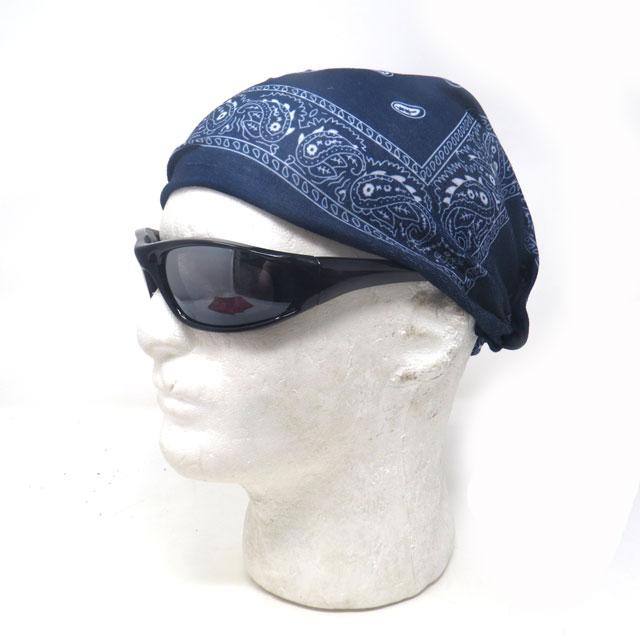 【ゆうパケット送料無料】バフマスク ストレッチ素材チューブマスク『ネイビーペイズリー』 フェイスマスク バイク・アウトドア・ジョギング・日焼け・花粉対策