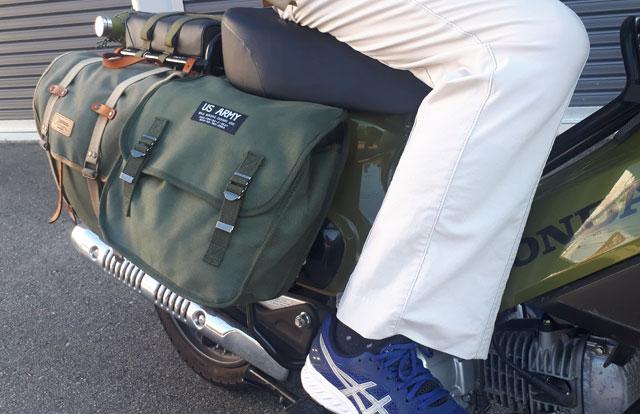 カブにピッタリ!US ARMY サドルバッグ(20L)ミリタリーテイスト キャンバス アーミーバッグ SADDLEBAG |カーキ|