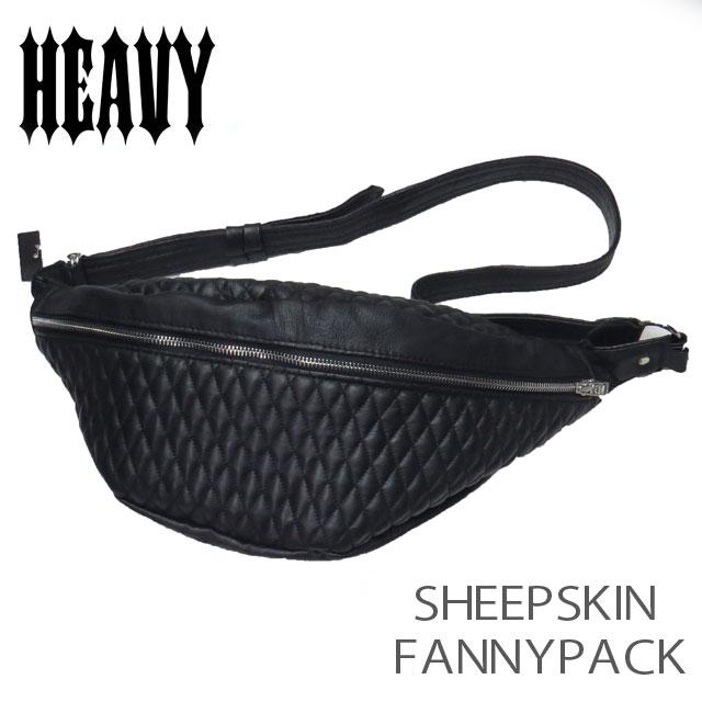送料無料!【HEAVY】 シープスキンファニーパック ダイヤステッチ レザーウエストボディバッグ  ブラック  BB-08 FANNY PACK 羊革