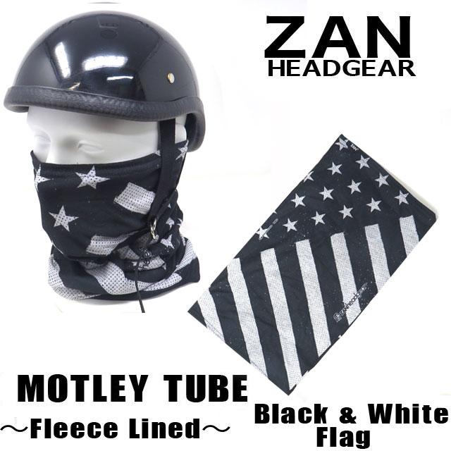【ZANheadgear】 Motley Tube 冬用防寒フリースライナーネックウォーマー&フェイスマスク・ブラック&ホワイト (TF091)