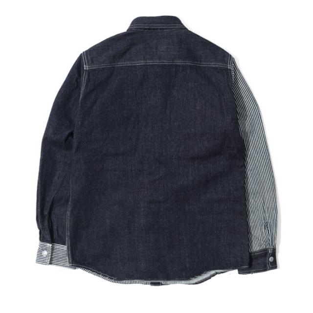 【児島ジーンズ】 マルチコンボワークシャツ デニムシャツ インディゴ/ヒッコリー