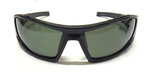 偏光レンズサングラス (6128P-1)バイカーズシェード ブラック/グリーンスモーク