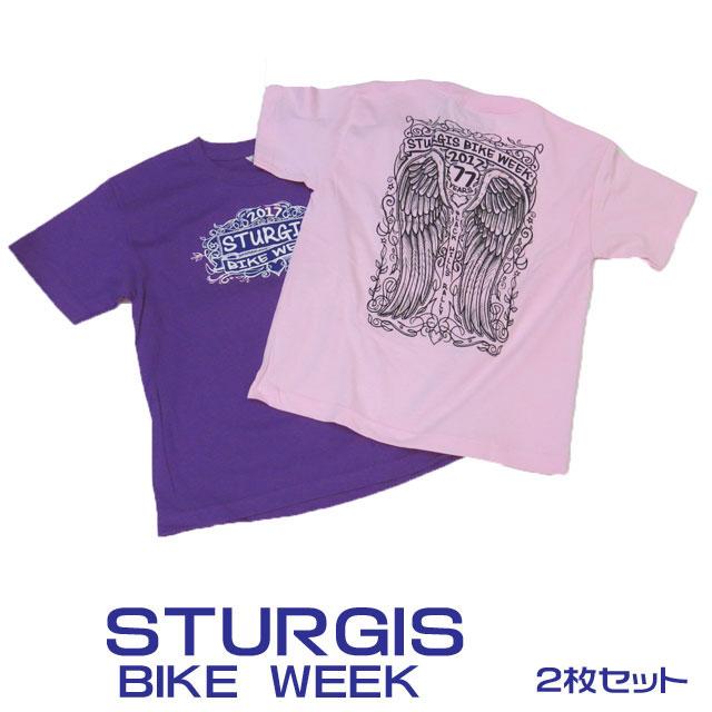 ゆうパケット送料無料【STURGIS BIKE WEEK 2017 スタージスオフィシャルバイクウィークTシャツ】 YOUTHサイズ ピンク/パープル 2色セット レディース ジュニア