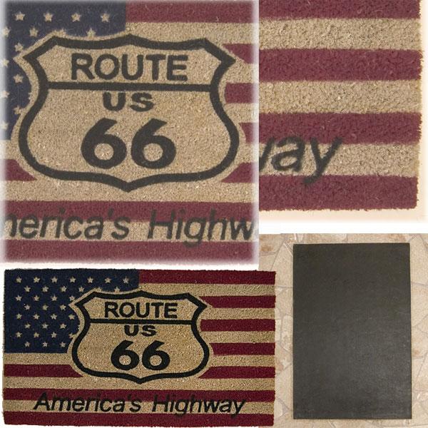 【COIR MAT】US FLAG ルート66・ココナッツ玄関マット コイヤーマット