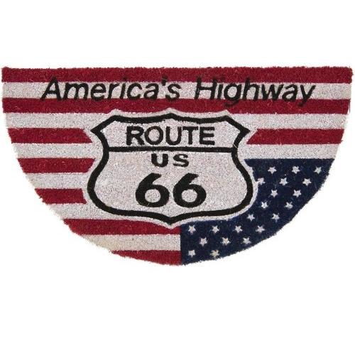 【COIR MAT】US FLAG ルート66・ココナッツ玄関マット(半円型) コイヤーマット
