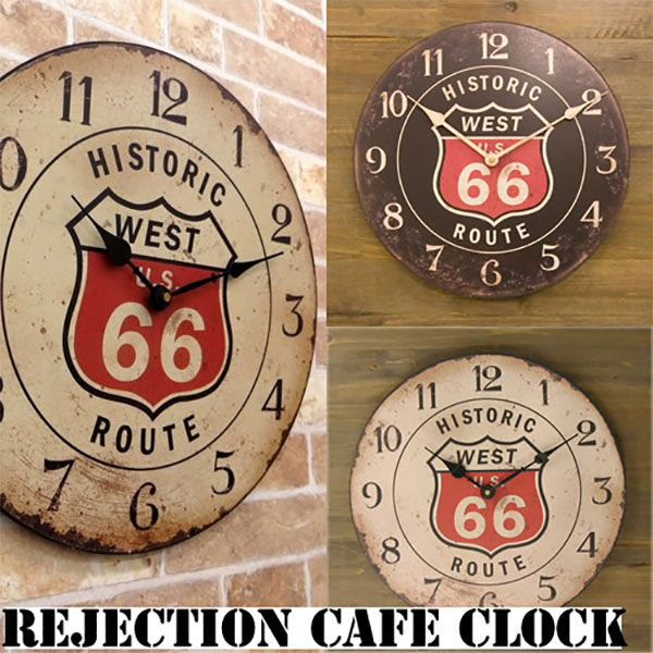 【Rejection Cafe Clock Route 66】レジェクション カフェ クロック 掛け時計 ルート66