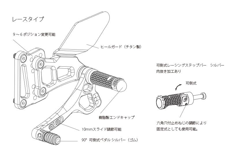 Valter Moto (バルターモト)バックステップ レース YAMAHA YZF-R6 ABS対応 (17- )
