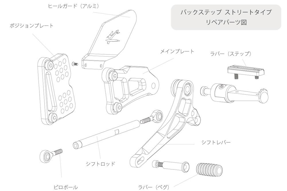 Valter Moto (バルターモト)バックステップ  ストリートタイプ(シフト側)