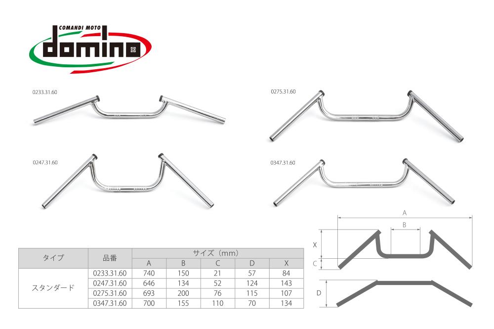 domino(TOMMASELLI) Φ22.2 クロームメッキコンドルハンドル イタリア製 汎用