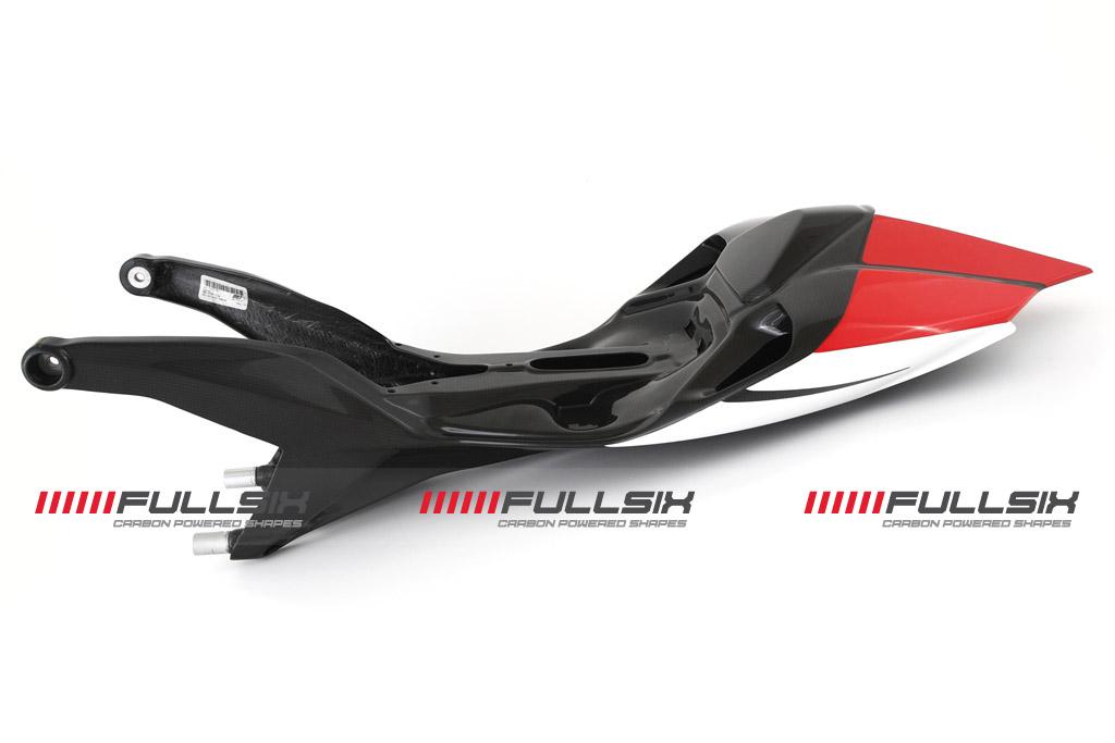 FULLSIX(フルシックス) ドライカーボン製 カーボンモノコックシートレール一体型カウル(レース用)レッド DUCATI 1199Panagale(FULLSIXカラー)