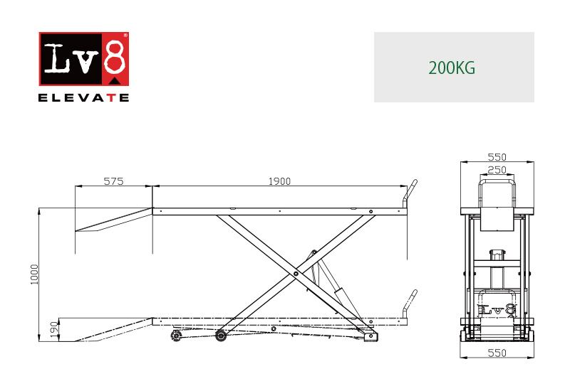 Lv8(エルブイエイト)モーターサイクルリフト スタンダード 200�対応