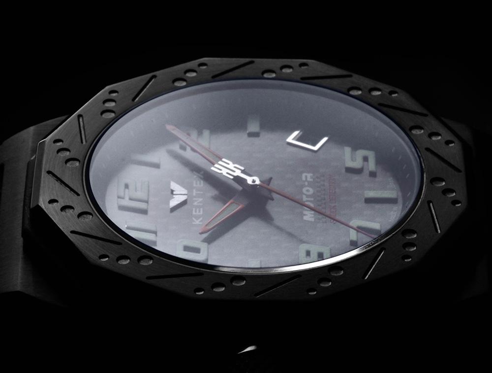 KENTEX (ケンテックス)MOTO-R 腕時計 3針 シルバーエディション レッド