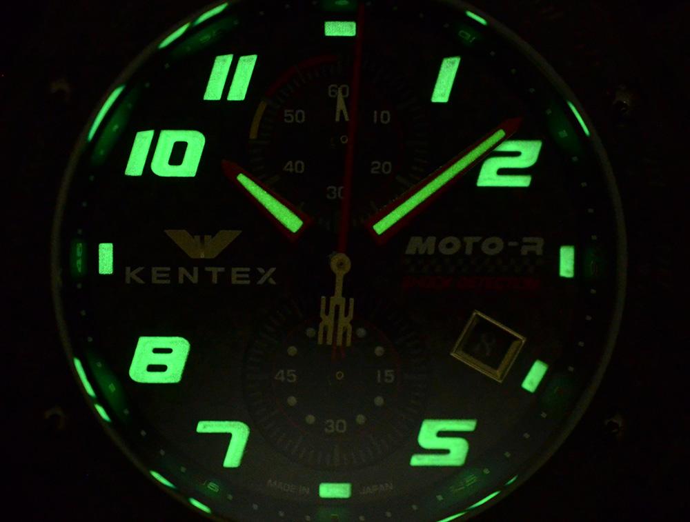 KENTEX (ケンテックス)MOTO-R 腕時計 クロノグラフ シルバーエディション レッド