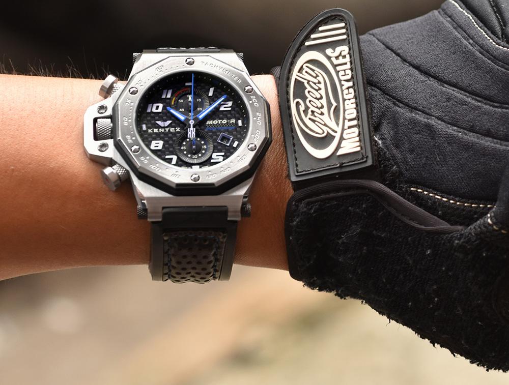 KENTEX (ケンテックス)MOTO-R 腕時計 クロノグラフ ブラックエディション ブルー