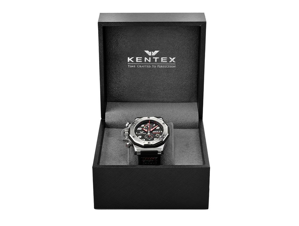KENTEX (ケンテックス)MOTO-R 腕時計 クロノグラフ シルバーエディション オレンジ