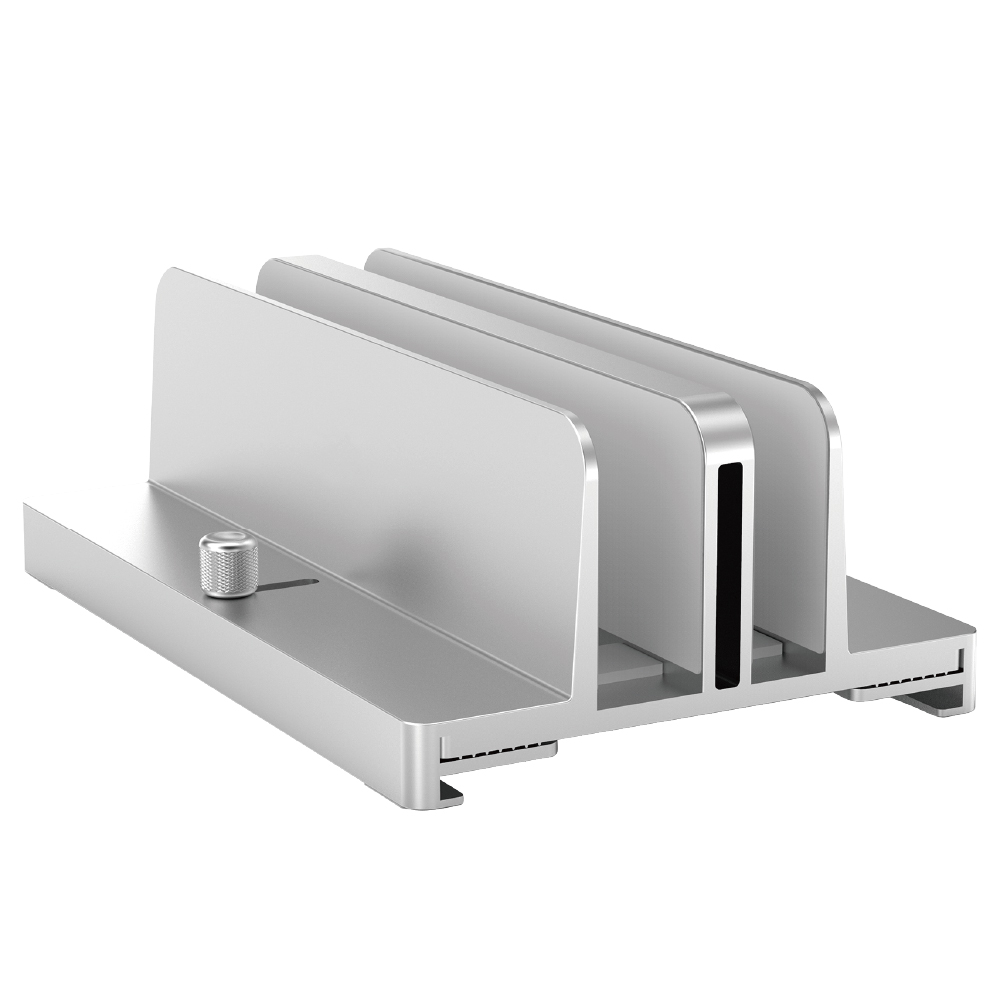 タテ置き収納アルミニウムPCホルダー テレワーク 省スペース タブレット ノートPC スタンド 1年保証(MOT-PCSTD04)