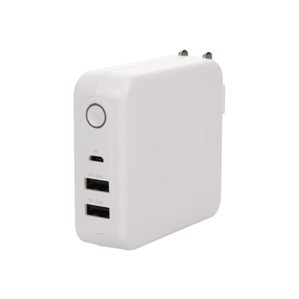 充電器とモバイルバッテリーの1台2役 USB×2ポートAC充電器+モバイルバッテリー 2年保証(MOT-MBAC6701)