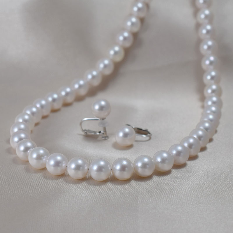 アコヤ花珠真珠ネックレス・イヤリングセット