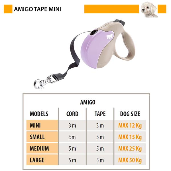 イタリアferplast社製 アミーゴ テープ MINI AMIGO TAPE 犬 りーど 伸縮 リード 3m さんぽグッズ