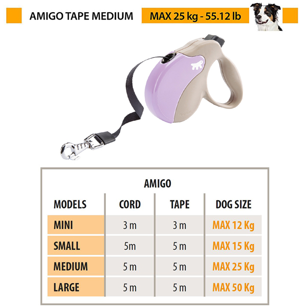 イタリアferplast社製 アミーゴ テープ M AMIGO TAPE 犬 りーど 伸縮 リード 5m さんぽグッズ