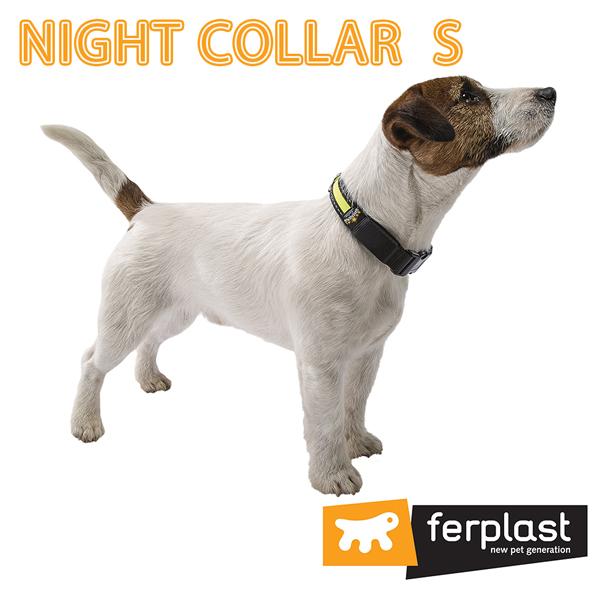 イタリアferplast社製 ナイトカラー S NIGHT SMALL 犬 くびわ 首輪 首回34から41cm 光る 夜 散歩 点灯 蛍光