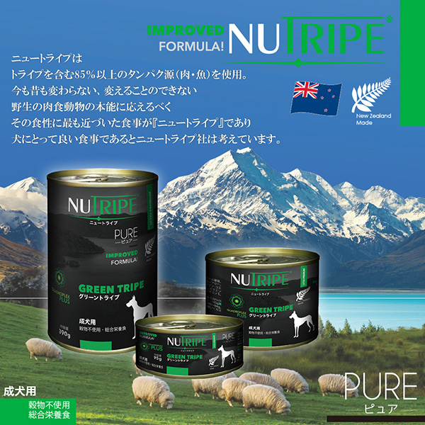 【NEW】成犬用 ドッグフード NUTRIPE_PURE ニュートライプ ピュア オーシャンフィッシュ&グリーントライプ 95g