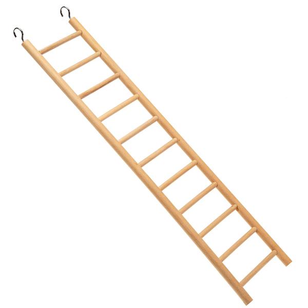 イタリアferplast社製 中型用 木製 11段式 ハシゴ はしご PA 4006 おもちゃ バードトイ 止まり木 階段 簡単取り付け 吊り下げ式