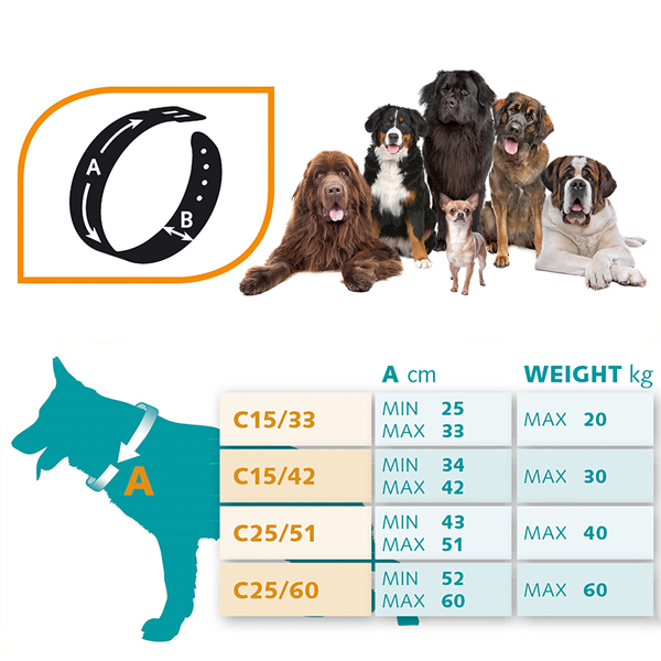 イタリアferplast社製 エルゴ コンフォート フルオ ERGO COMFORT FLUO C25/60 ネオンカラー 犬 くびわ クビワ 首輪 首回り52から60cm 送料無料