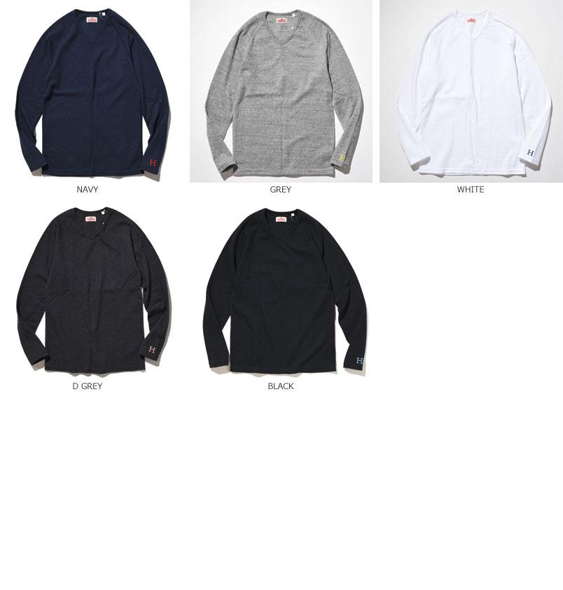 HOLLYWOOD RANCH MARKET<br>ストレッチフライス Vネック ロングスリーブ Tシャツ 【700072975】<br>ハリウッド ランチ マーケット V/N L/S