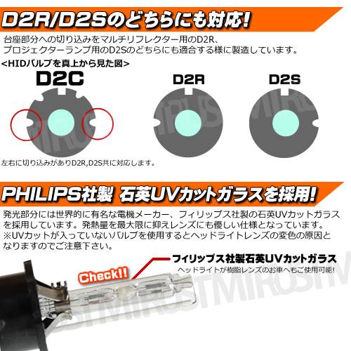 高品質 HIDバルブ D2C (D2R/D2S兼用) 35W 4300K・6000K・8000K・10000K・12000K・15000K・30000Kから選択可 メタルマウントタイプ フィリップス社製石英UVカットガラス採用【エムトラ】