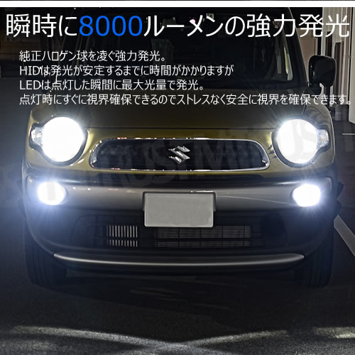 一年保証 ファンレス LEDフォグランプ H11 車検対応 ホワイト 6500K 8000lm 12V 24V 対応 カットライン オールインワン バラスト不要 爆光 ヘッドランプ ヘッドライト ハイブリッド EV車 ルーメン 明るい 白 純白 車検 一体型 エムトラ