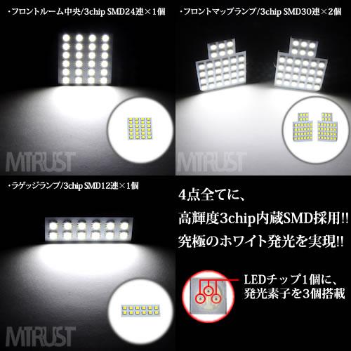 車種専用 SMD LED ルームランプセット 新型 タント/タントカスタム LA600S/LA610S 前期 後期 3チップ内蔵SMD96連搭載で合計288連◎ホワイト発光 LED【1ヶ月保証付】【エムトラ】