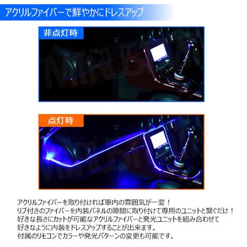 RGB アクリル ファイバー チューブ ライト LED 8m 8色 リブ付 カット可能 リモコン式【レッド グリーン ブルー ピンク オレンジ イエロー シアン パープル 鮮やか 車内 内装 アンビエントライト ドレスアップ カスタム】エムトラ