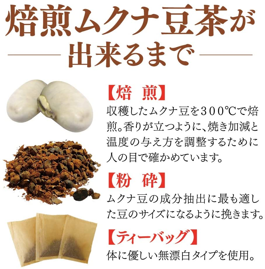 焙煎ムクナ豆茶 1包1リットル用 10g×10包入り2袋セットのお得な健康茶