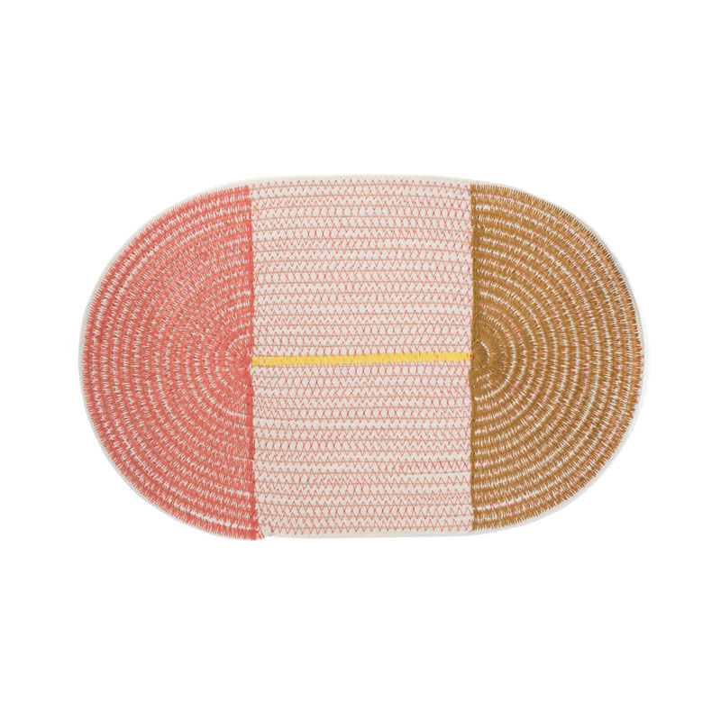 COTTON PLACE MAT Round / CoralPink×Brown