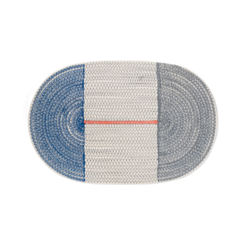 COTTON PLACE MAT Round / Blue × Gray