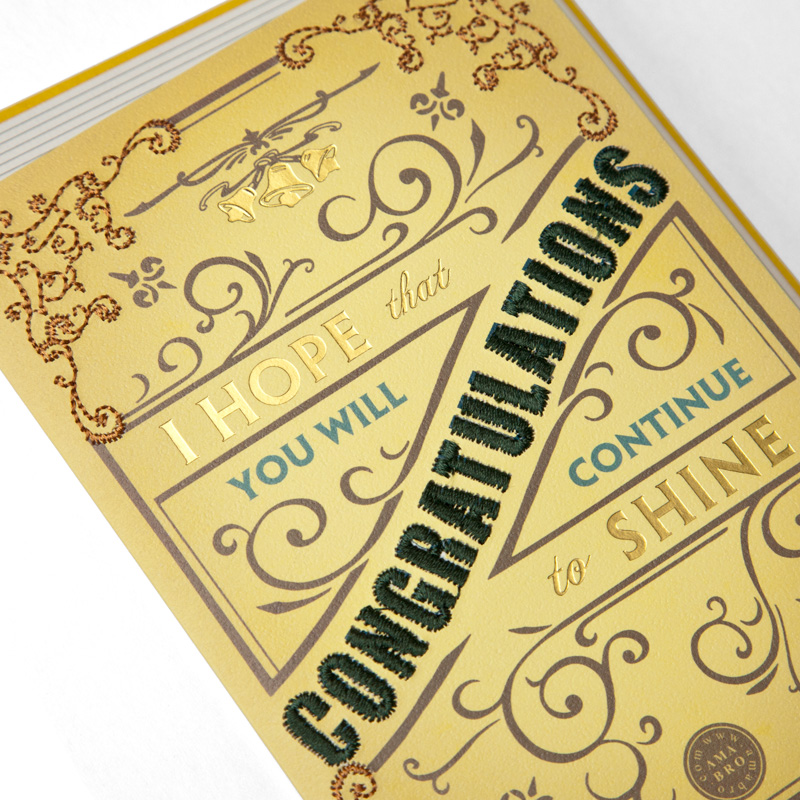 EMBROIDERY MESSAGE CARD / Congratulations