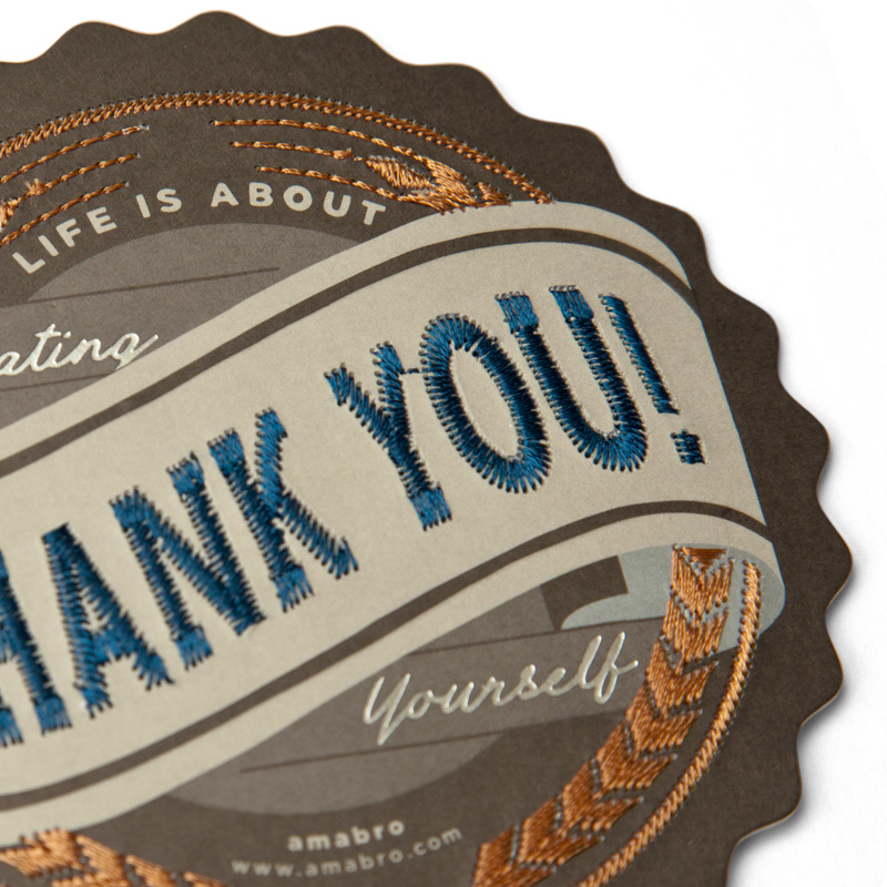 EMBROIDERY MESSAGE CARD -COLLEGE- / Thank You