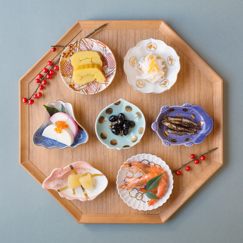 MAME 山水文扇形皿