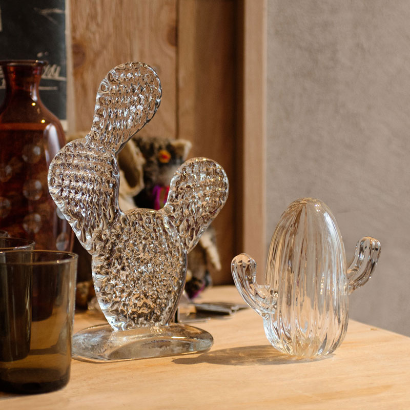 CACTUS GLASS ORNAMENT -clear- (L)Round Fan