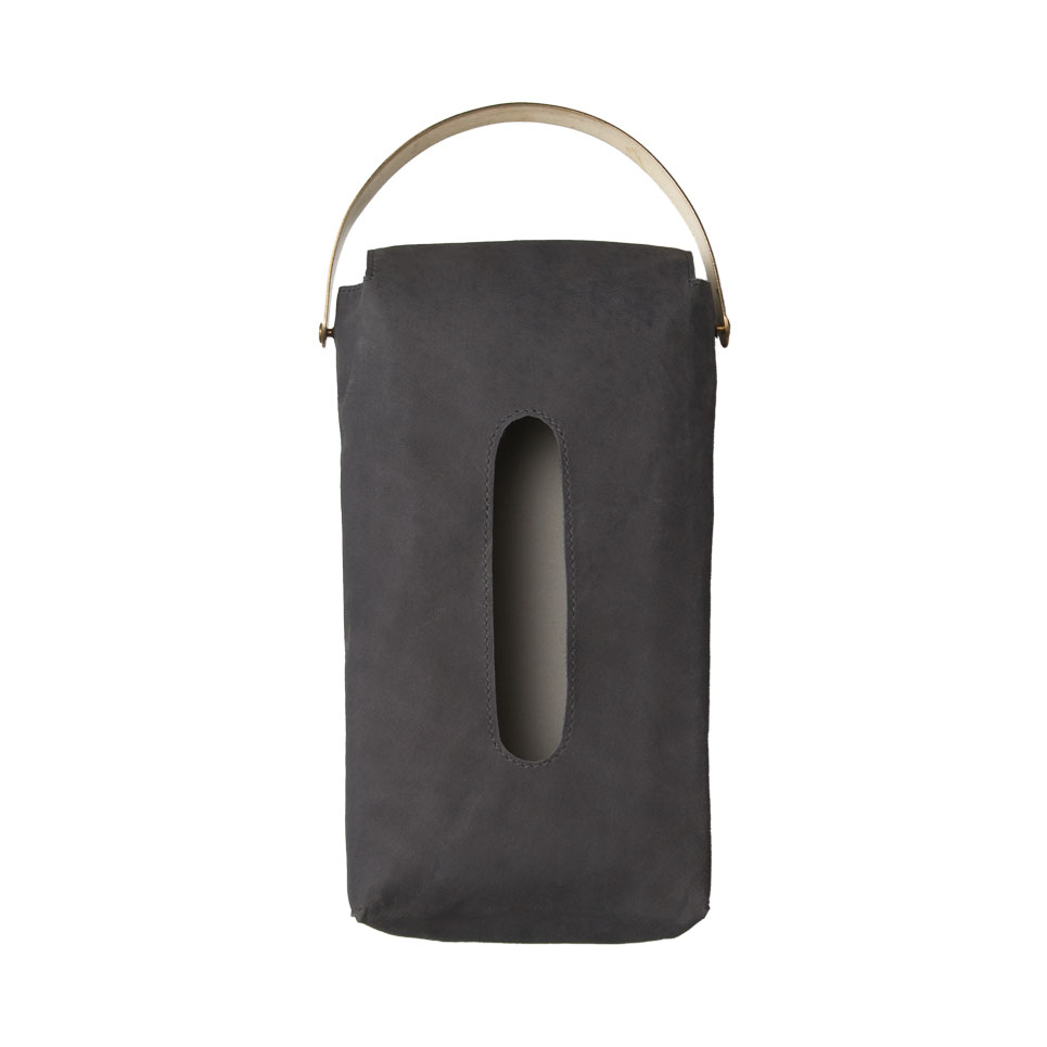 LEATHER TISSUE COVER / Black
