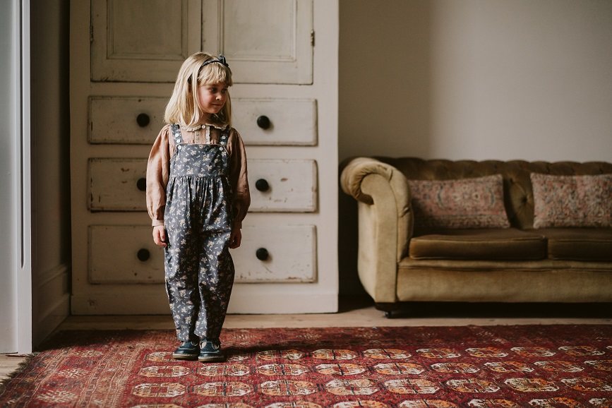 Margo Dungarees winter blue floral 21AW/無料ラッピング不可