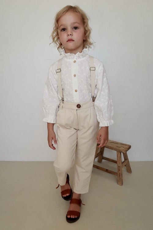 Jean Michel Tailored Suspender PANT 20AW/Naturel Ecru