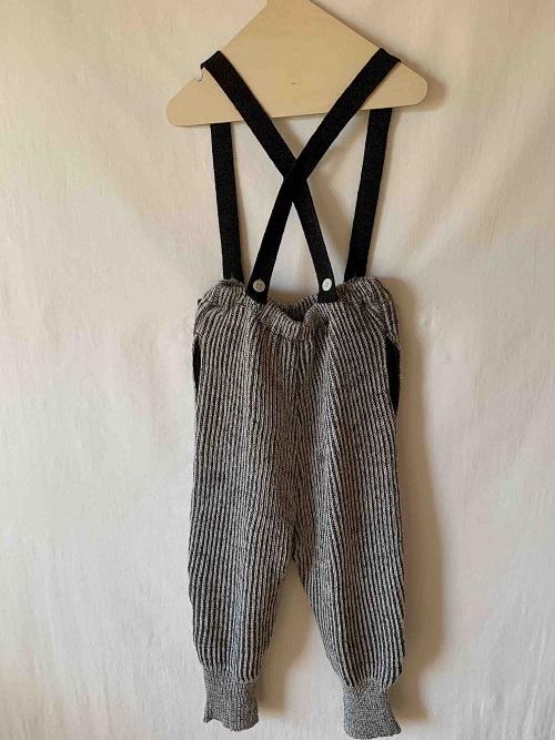rib stitch suspenders pants 20AW/charcoalgray
