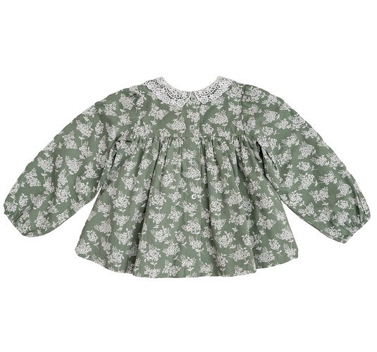 Marcie blouse/green hydrangea floral with cotton lace collar 20AW ※無料ラッピング不可