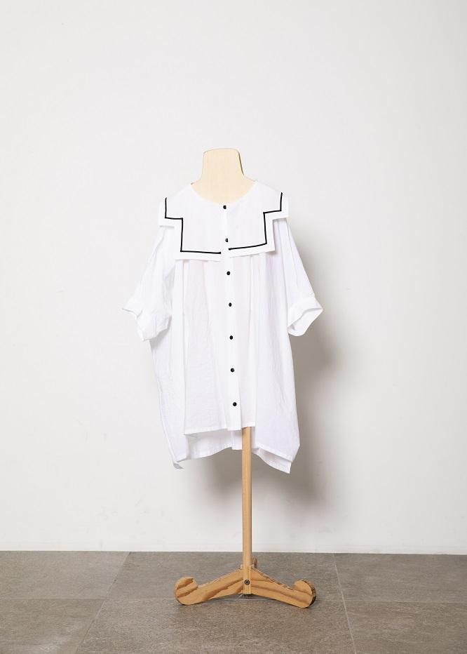 sailor collar shirts/white 21SS