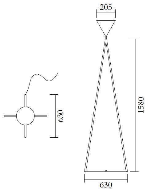 ARETI/One cone Cross baseフロアライト