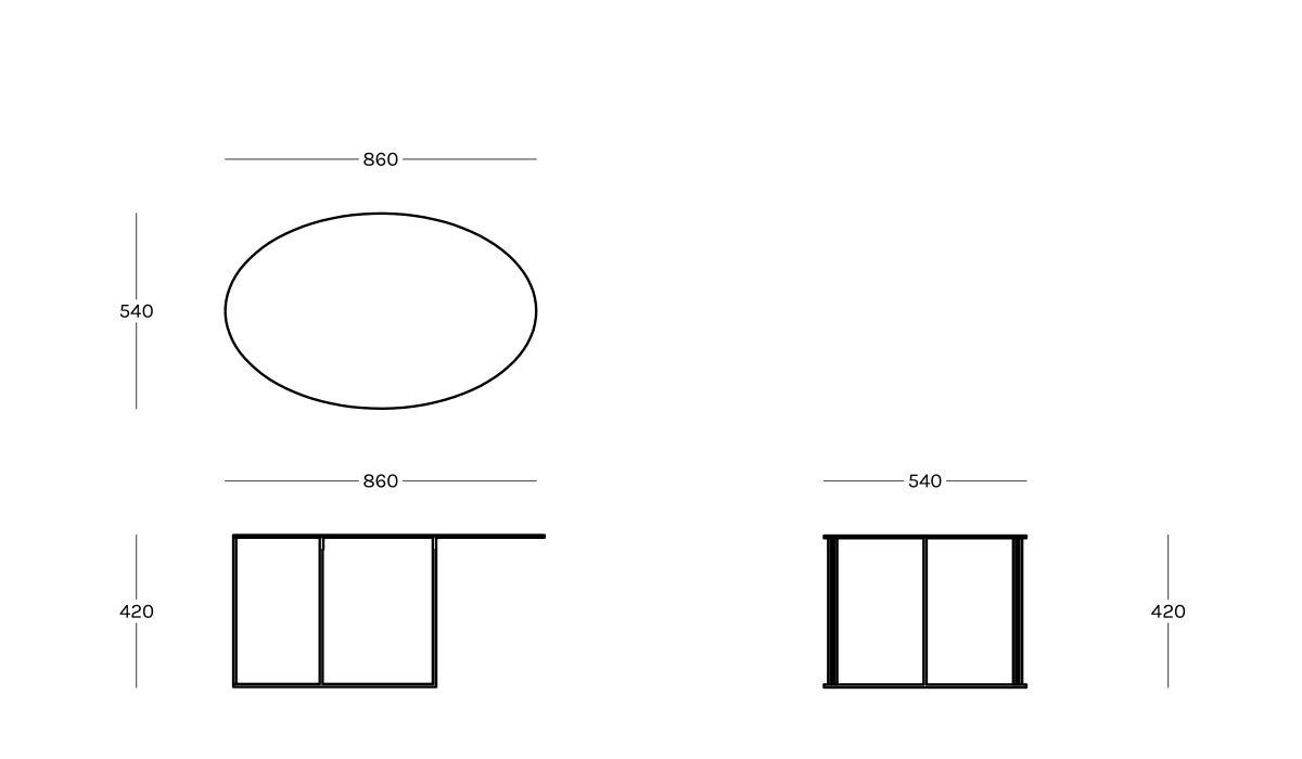 ZEUS/ゼウス/SLIM IRONY OVALテーブルセット